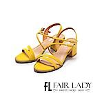 Fair Lady 雙繞帶粗跟涼鞋 黃