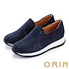 ORIN 時尚渡假風 鞋面規則燙鑽平底休閒鞋-藍色