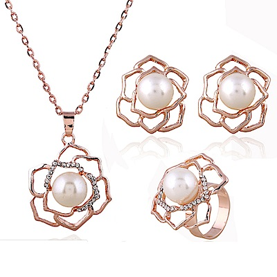 RJ New York 薔薇珍珠花鏤空戒指項鍊耳環3件式套組