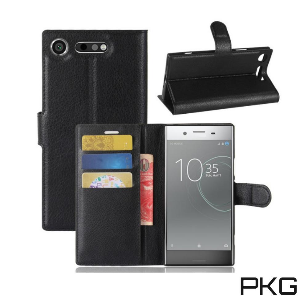 PKG SONY Xperia XZ Premium 側翻式-精選皮套-經典款式-黑