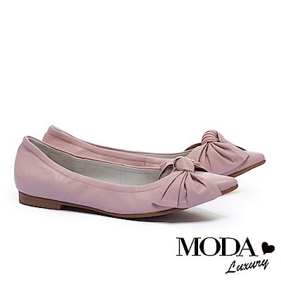低跟鞋 MODA Luxury 簡約氣質素雅蝴蝶扭結尖頭低跟鞋-粉