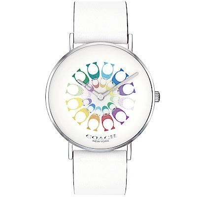 COACH Perry 七彩漸層 C Logo閃亮女錶(14503290)-白/36mm