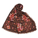 COACH 花卉滿版LOGO羊毛薄圍巾-咖啡色