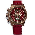 elegantsis 聖誕特別限定款 義大利真牛皮錶帶-紅x古銅金/45.5mm
