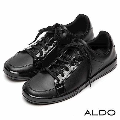 ALDO 原色亮面拼接幾何車線綁帶式厚底休閒男鞋~尊爵黑色