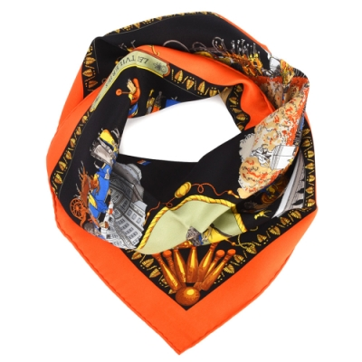Hermes Promenades De Paris杜樂麗花園廣場方形絲巾-黑色/橘邊