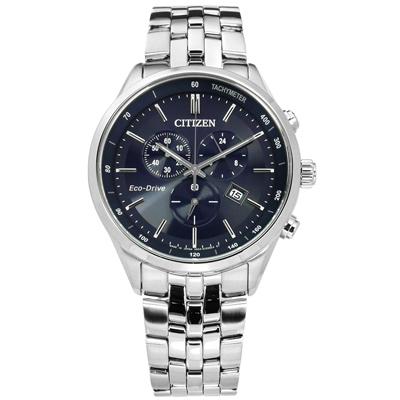 CITIZEN 光動能藍寶石水晶計時日本製造防水不鏽鋼手錶-深藍色/42mm