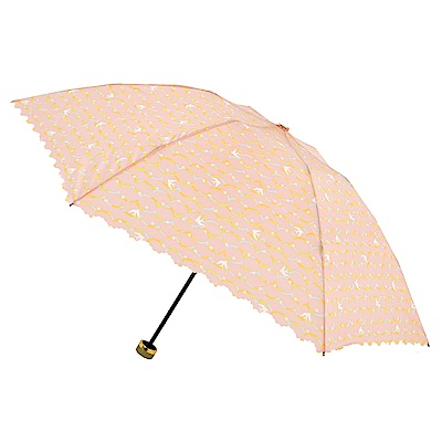2mm 清漾幾何 晴雨兩用抗UV輕量手開傘 (橘色圓點)