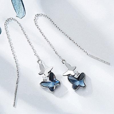 RJ New York 蝴蝶藍夢水晶925純銀流蘇垂墜耳環 藍色
