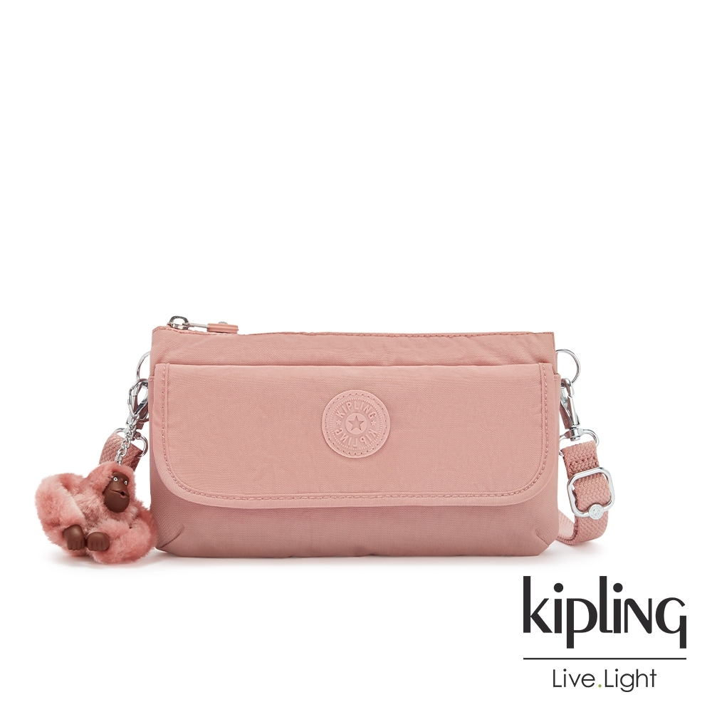 Kipling 玫瑰石英粉翻蓋肩背側背包-VECKA STRAP