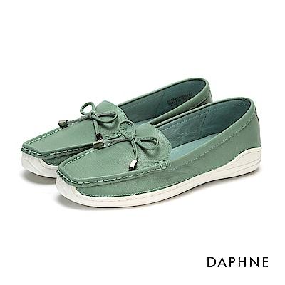 達芙妮DAPHNE 平底鞋-真皮蝴蝶結舒軟平底鞋-綠