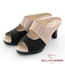 【CUMAR】優雅化身鏤空感鑽飾尖頭魚口粗跟涼鞋-杏色