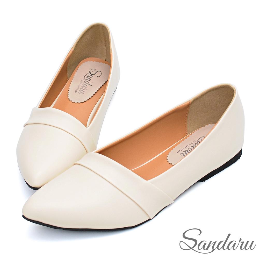 山打努SANDARU-尖頭鞋 壓摺美型素面平底鞋-米