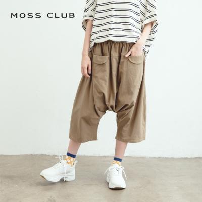 【MOSS CLUB】低檔鬆緊休閒-八分褲(三色)