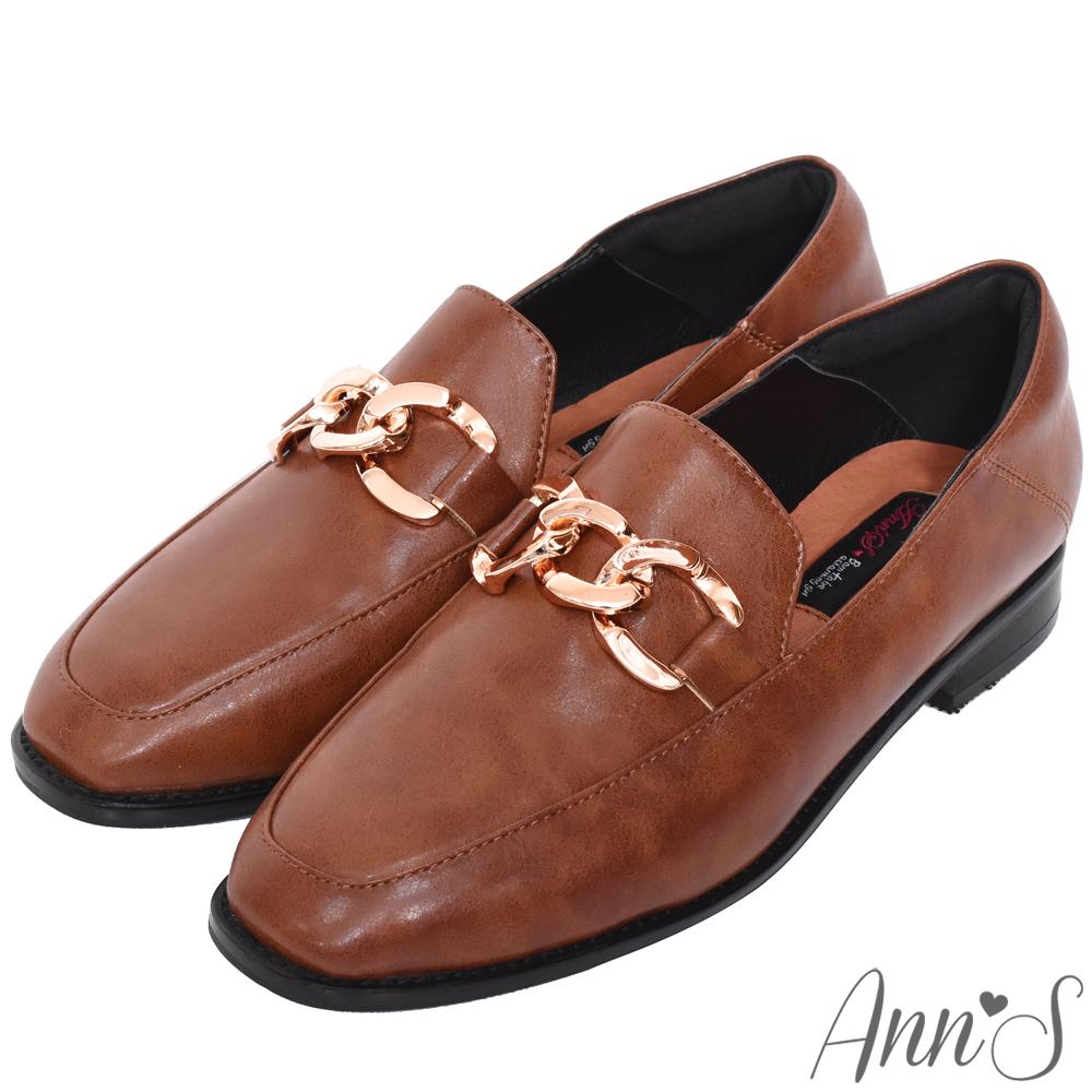 Ann'S韓系質感金鍊紳士鞋-咖