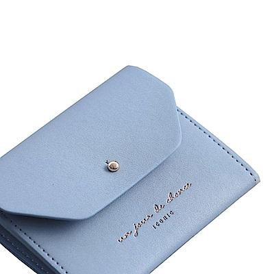 ICONIC 職人風格皮革票卡夾零錢包M-天空藍
