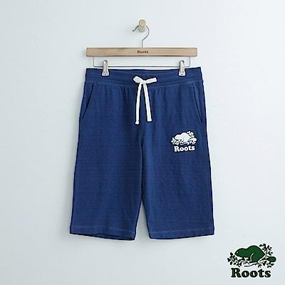 Roots 男裝-後側印花休閒短褲-藍色