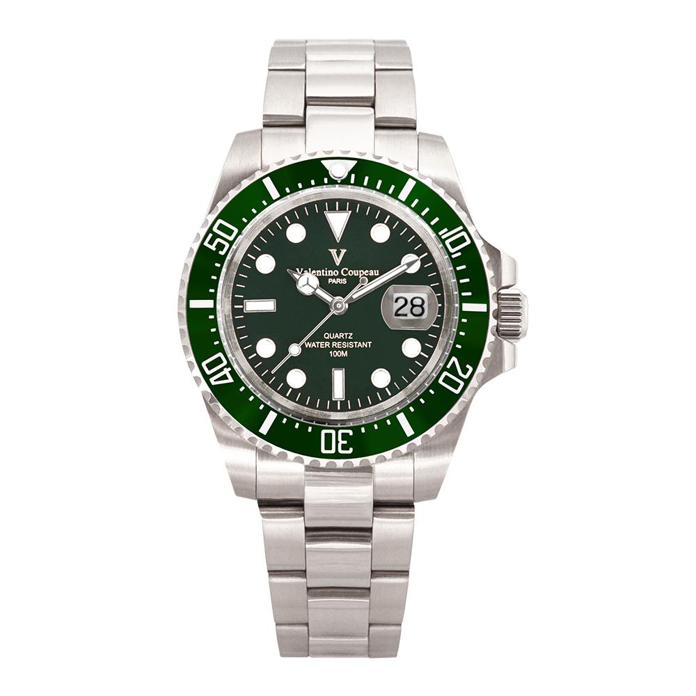 Valentino Coupeau 范倫鐵諾 古柏 陶瓷水鬼腕錶【銀色/綠面/鋼帶】