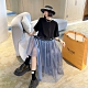 甜美個性不規則網紗拼接寬鬆娃娃洋裝-F-CLORI product thumbnail 1