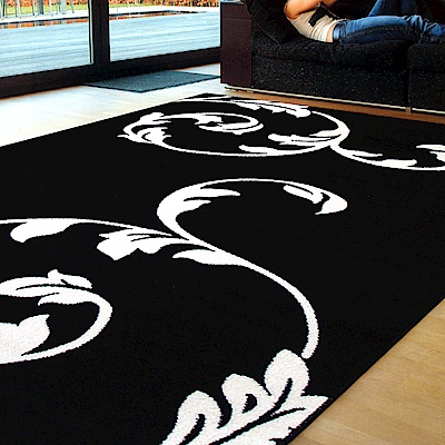 Ambience 比利時Shiraz 地毯-黑與白(藤蔓 160x230cm)
