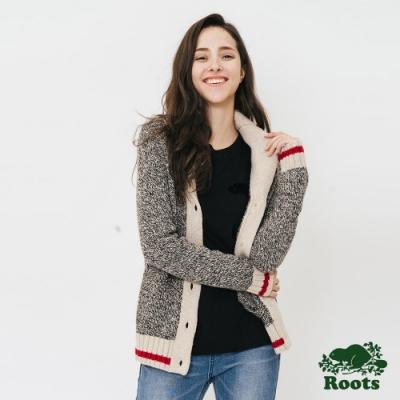 女裝ROOTS - 溫馨佳節開襟領釦子針織外套-灰