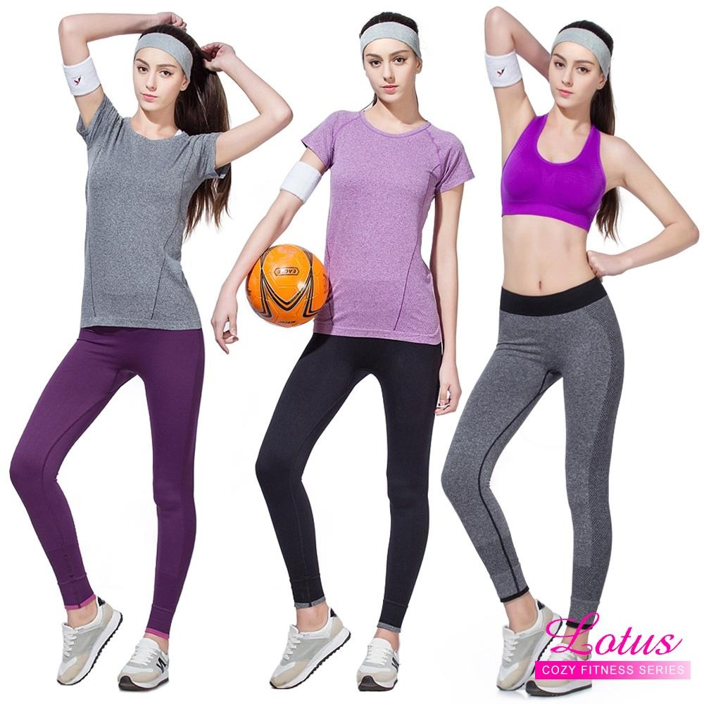 [時時樂限定]LOTUS 高彈力瑜珈九分快乾慢跑運動褲-3色