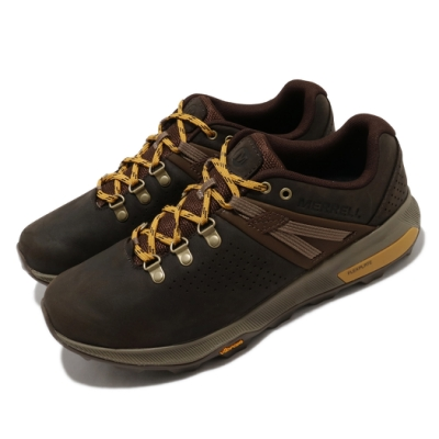Merrell 戶外鞋 Zion Peak 低筒 運動 男鞋 登山 越野 耐磨 黃金大底 緩震 棕 黃 ML035353