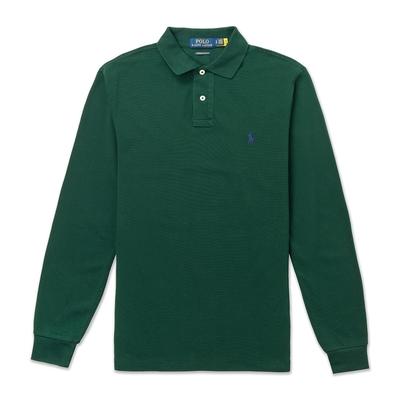 Polo Ralph Lauren 年度熱銷刺繡小馬長袖POLO衫(CUSTOM SLIM FIT)-墨綠色