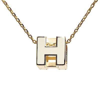 HERMES 經典立體H LOGO簍空方塊項鍊(白X金)