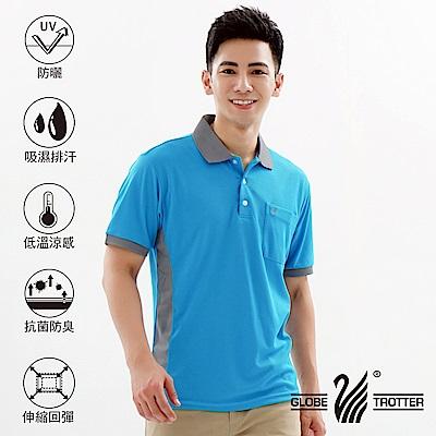 【遊遍天下】MIT台灣製男款抗UV吸濕排汗機能POLO衫S138中藍