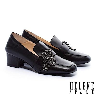 高跟鞋 HELENE SPARK 華麗晶鑽後踩式復古潮流方頭粗高跟鞋-黑