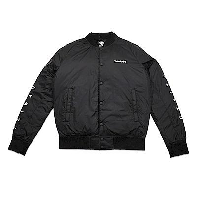 Timberland 男款短版黑色外套LOGO鋪棉飛行外套|A1N8E