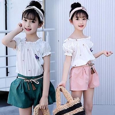 小衣衫童裝    中大童甜美泡泡短袖上衣短褲套裝1070516