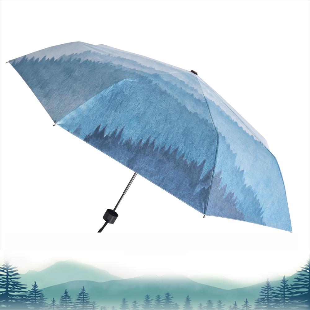 2mm 迷霧森林 高防曬零透光黑膠五折手開傘