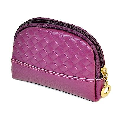Miyo極輕便菱格貝殼造型零錢包(紫)