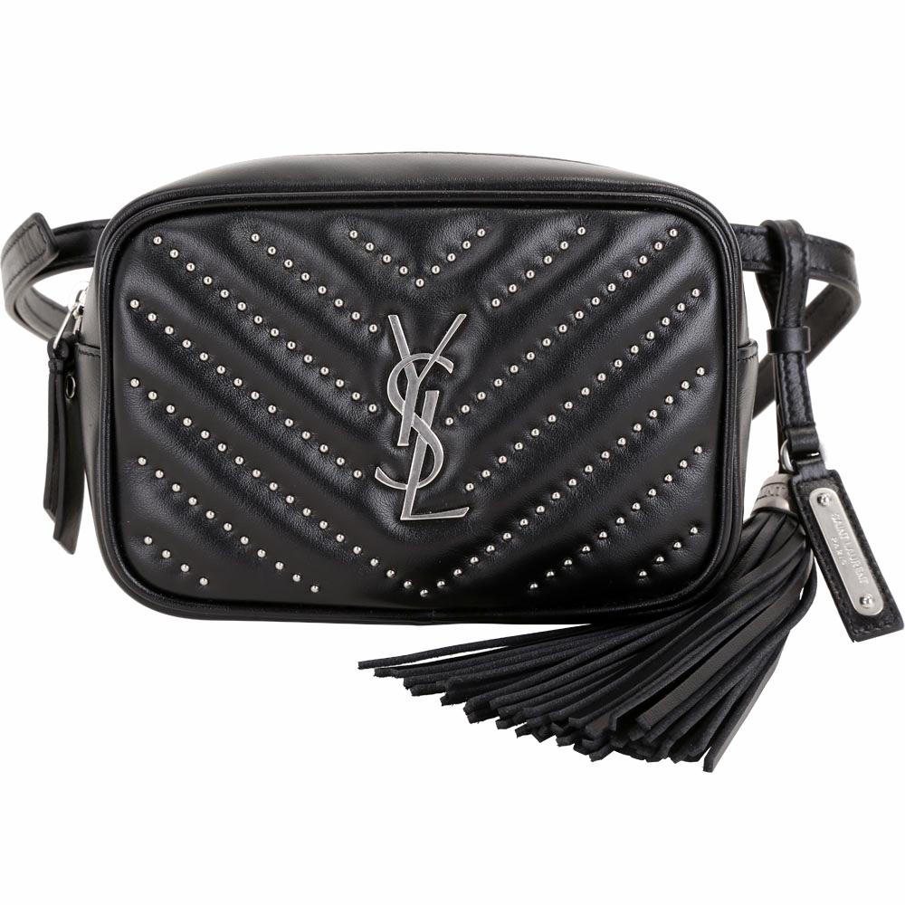 YSL Saint Laurent LOU 鉚釘絎縫小牛皮流蘇胸肩包/腰包(黑色)