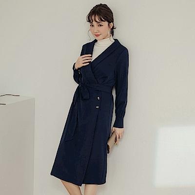 純色附綁帶側排釦翻領一片式長袖中長洋裝-OB嚴選