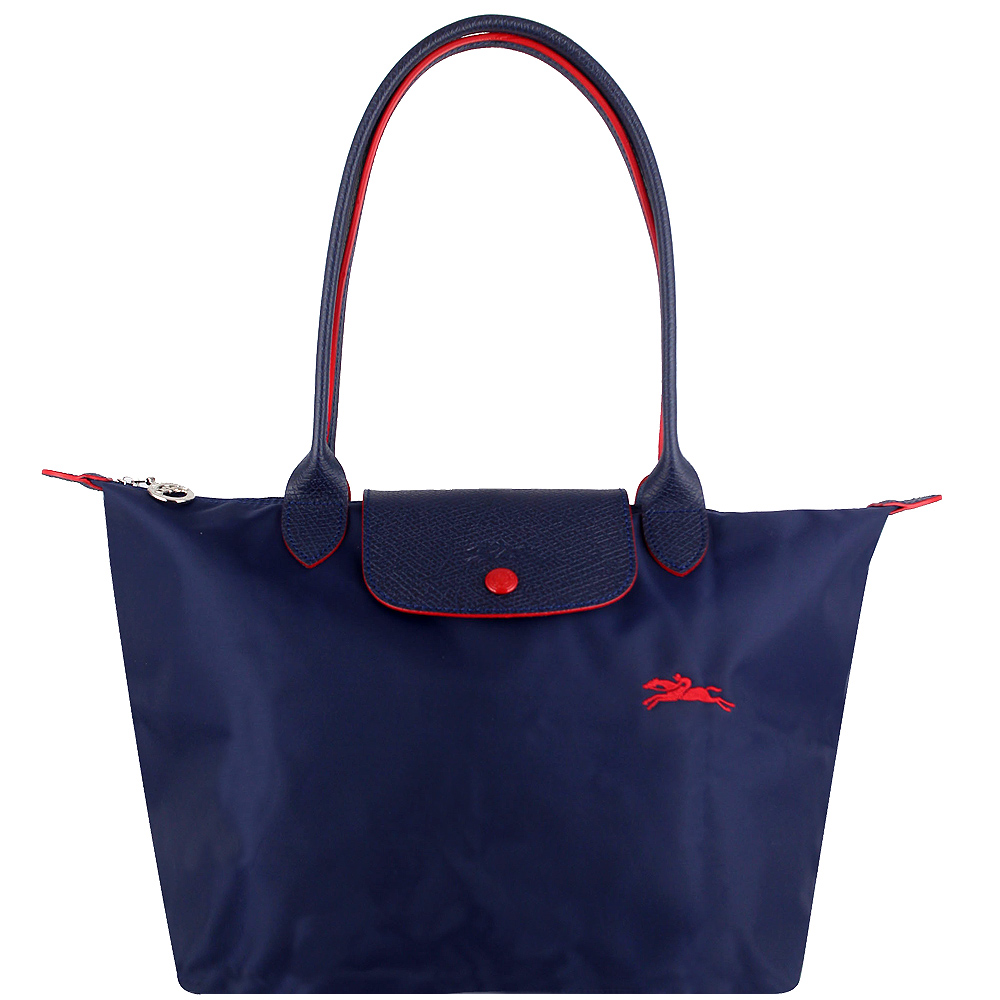 Longchamp Collection尼龍布刺繡品牌長背帶水餃包(藍色/小)