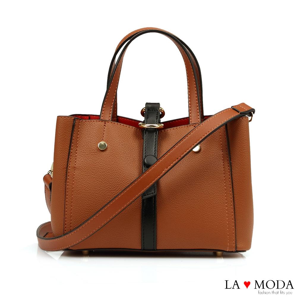 La Moda 職場女孩必備~經典撞色多背法可換背帶肩背斜背托特包(棕)