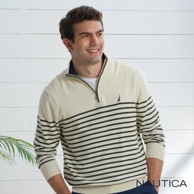 Nautica 男裝 休閒質感條紋立領針織衫-白色