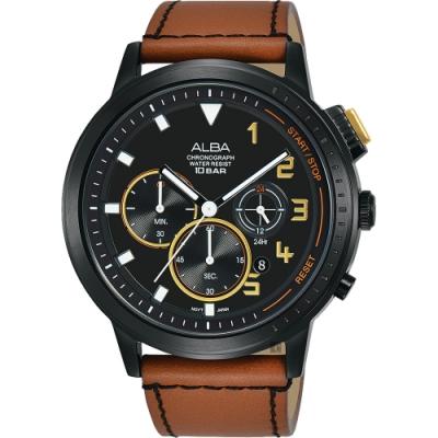 ALBA 雅柏 廣告款 自我表態計時男錶(AT3F39X1)-黑x咖啡錶帶/44mm