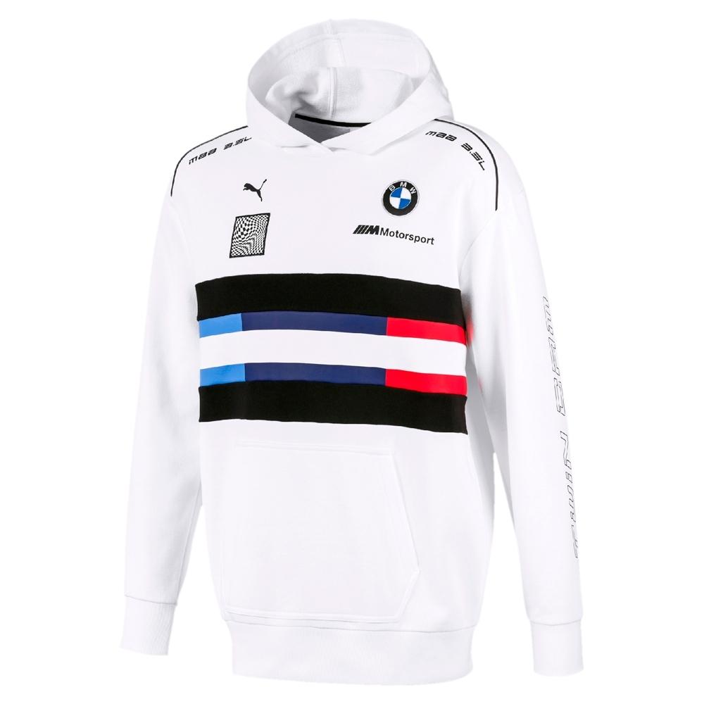 PUMA-男性BMW系列MMS Street長厚連帽T恤-白色-歐規