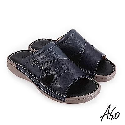 A.S.O 機能休閒 手縫氣墊雙面料拼接休閒男拖鞋-深藍