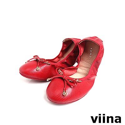viina 時尚金鍊摺疊鞋MIT-紅色