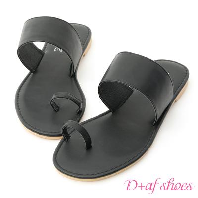 D+AF 簡約時尚.一字寬帶套指涼拖鞋*黑