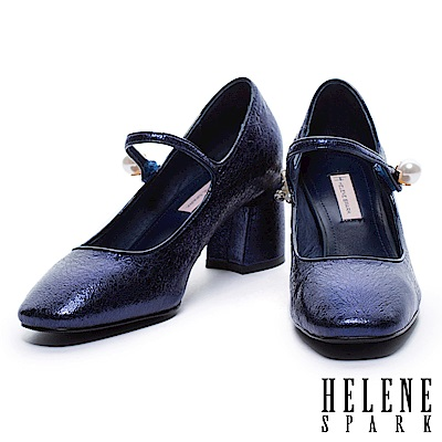 高跟鞋 HELENE SPARK 奢華珍珠復古方頭瑪麗珍高跟鞋-藍