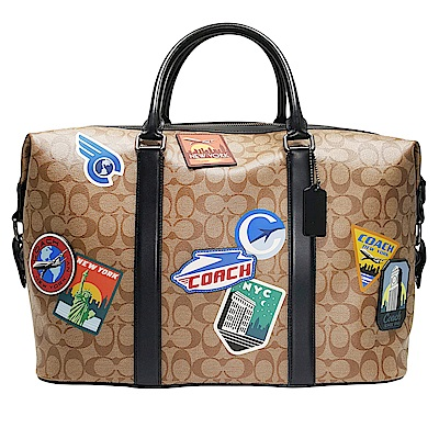 COACH 經典LOGO拼貼徽章大型手提/斜揹 旅行袋