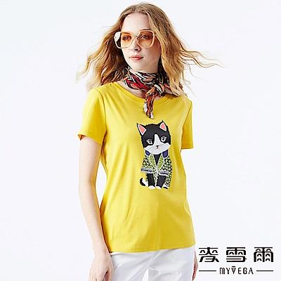 【麥雪爾】純棉素色貴族貓咪印花上衣-黃