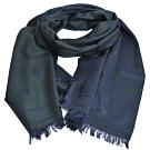 Paul Smith 繽紛原點圖騰雙面配色絲毛混織薄造型圍巾(墨綠/藍)