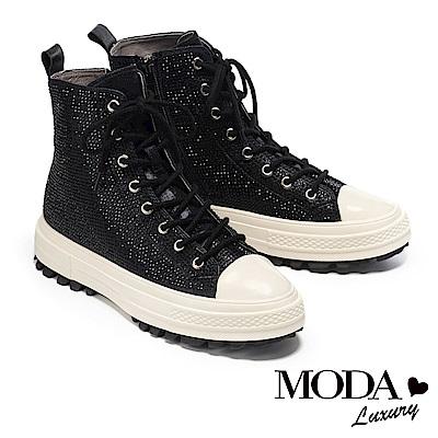 休閒鞋 MODA Luxury 極奢華水鑽側拉鍊設計綁帶厚底高筒休閒鞋-黑